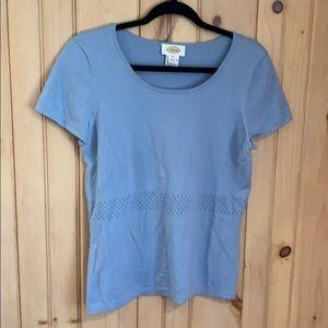 Women's Talbots blue short sleeve sweater